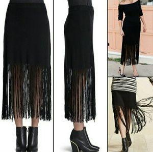 NIC & ZOE black fringe hem knit skirt